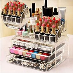 Almand-Acrylic-Double-Layer-Beauty-Vanity-Jewellery-Clear-Make-Up-Cosmetic-Display-Stand-Organizer-Rack3-Drawer-16-Section