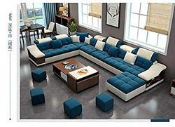 Best-Furniture-Living-and-Dining-Hall-Nylon-U-Shape-Sofa-Set-3-2-2-Corner-4-Pease-Puffy-Dewan-Standard-Size-Blue-and-White
