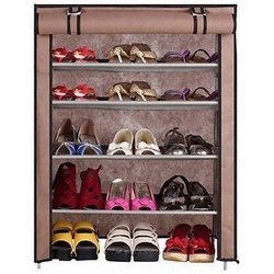 Caxon-BROWN-Cabinet-4Layer-Metal-Collapsible-Shoe-Stand-Brown-4-Shelves