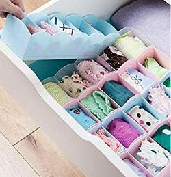 Crasta-Retail-8-Pcs-Plastic-Storage-Box-Assorted-Colour-Perefect-for-Desk-Drawer-UndergarmentsCosmetics-Tie-Socks-Bra-MULTICOLOUR
