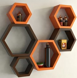 Decorasia Hexagon Shape Wood Wall Shelf Number of Shelves 6 Brown Orange