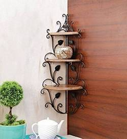 Decorasia Wooden Wrought Iron Corner Rack Wooden Iron Wall Shelf Number of Shelves 3 Brown