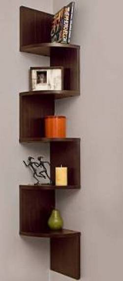 Furniture Cafe Zigzag Corner Wall Mount Shelf Unit Book Shelf Wall Decoration Walnut Finish Brown