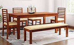 Hariom-Handicraft-Sheesham-Wood-Dining-Table-with-Chairs-Cushion-Dining-Room-Furniture-6-Seater-Dining-Set-Honey-Finish-4-Chairs-1-Bench