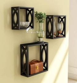 Home Sparkle Cubical MDF Medium Density Fiber Wall Shelf Number of Shelves 3 Black