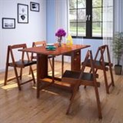 HomeTown-Compact-Solid-Wood-Four-Seater-Dining-Set-in-Walnut-Color