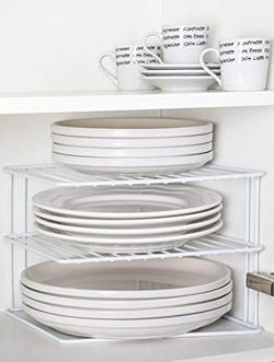 INDIAN DECOR Kitchen Corner Rack Shelf Plate Rack Kitchen Storage Idea Cupboard Organiser White 25X25X20