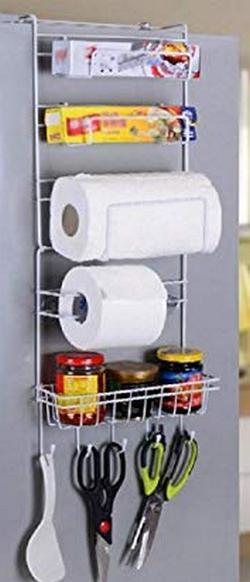 INDIAN DECOR Multi Layer Refrigerator Broadside Shelf Rack Sidewall Multipurpose Shelf Plastic Wrap Tissue Storage Rack Kitchen Organizer White Color