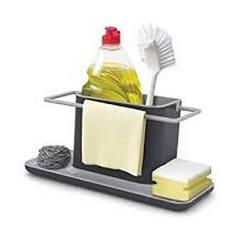 Inovera 3 In 1 Self Draining Sink Organiser Sponge Brush Holder Big Black