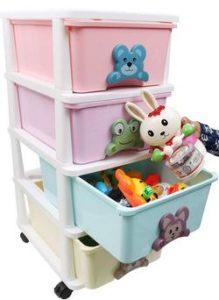 Kurtzy-Plastic-Modular-Drawer-System-Space-Saving-Toy-Storage-Chest-4-Rack-Multicolour