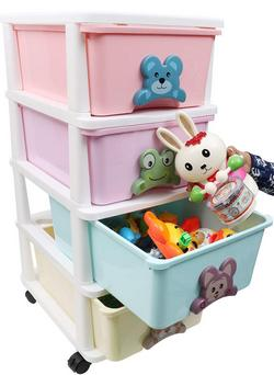 Kurtzy Plastic Modular Drawer System Space Saving Toy Storage Chest 4 Rack Multicolour