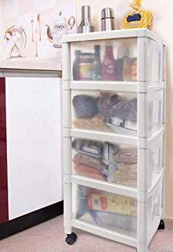 Kurtzy Space Saving Rack Modular Drawer Kitchen Storage Chest Organizer with Wheel 4 Layer