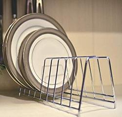 Levon Stainless Steel Plate Rack Dish Rack Plate Stand Dish Stand Lid Holder Utensil Rack for Kitchen 6 Sections