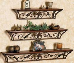 MartCrown new iron wall stand Wooden Wall Shelf Number of Shelves 3 Brown