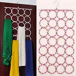 OxbOw 28 Slots Scarf Dupatta Hanger Organiser Multi Purpose 28 Rings Foldable Hanger for Ties Scarfs Belts
