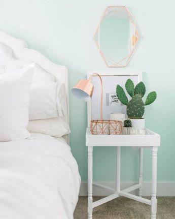 Pastel mint green wall