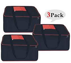 SNDIA Wardrobe Organizer Clothes Blanket Nylon Large Black Red Storage Bag SET OF 3