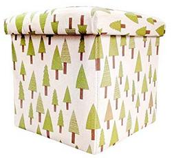 Sterling Foldable Cotton Ottoman Storage Box Cum Stool with Little Tree Pattern Foldable Stool 30 x 30 x 30 cm 1