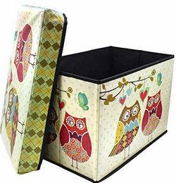Sterling Foldable Ottoman Storage Box Cum Stool Owl Print Pattern Foldable Stool Size 30 x 31 x 48 cm