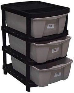 Veer-Multipurpose-Plastic-Modular-3-Drawer-System-Chest-Storage-Organizer-Black