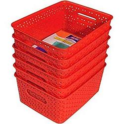 Xllent-Multipurpose-Royal-Storage-Basket-for-Organiser-RED-Set-of-6