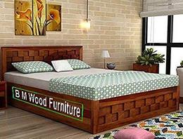 BM WOOD FURNITURE Single Size Sheesham Wood Bed 6X4 Feet with Storage Honey Teak Finish Brown