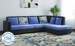 Bharat Lifestyle Nano Fabric 6 Seater Sofa (Finish Color - Light Blue and Black)