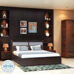 Crystal Furnitech Aspen Engineered Wood King Drawer Bed Finish Color Walnut Dream WhiteJustHere