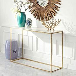 DG DEXAGLOBAL Console Table White Top Gold Base