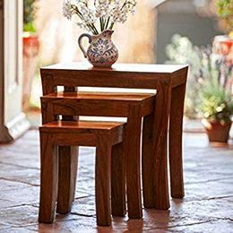 DecorNation-Carissa-Solid-Wood-Set-of-3-Nesting-Table-Sheesham-Wood-Brown