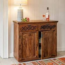 DriftingWood Solid Sheesham Wood Side Board Cabinet with Drawers for Living Room Honey Finish