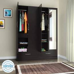 Flipkart Perfect Homes Andes Engineered Wood 4 Door Wardrobe Finish Color Wenge Mirror Included 1