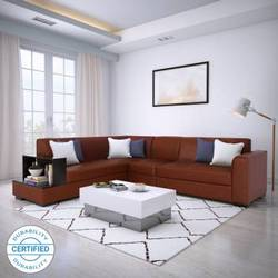 Flipkart Perfect Homes Conwy Leatherette 6 Seater Sofa (Finish Color - Brown)