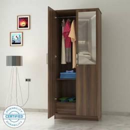 Flipkart Perfect Homes Julian Engineered Wood 2 Door Wardrobe Finish Color Walnut Mirror Included