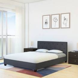 Flipkart Perfect Homes Pavyn Engineered Wood Queen Bed Finish Color Grey