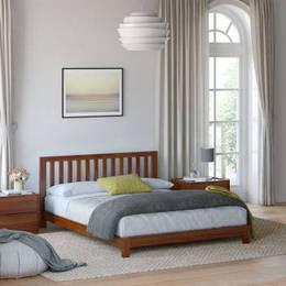 Flipkart Perfect Homes PureWood Acacia Queen Low Bed Finish Color Teak