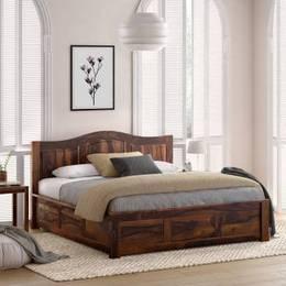 Flipkart Perfect Homes PureWood Sheesham King Drawer Bed Finish Color Walnut