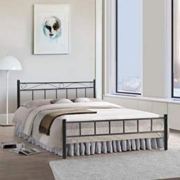 FurnitureKraft London Double Size Metal Bed Mild Steel Black am
