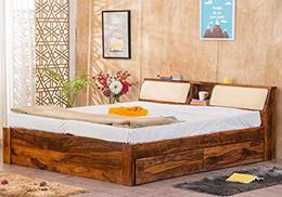 Furny Oberoi Teak Wood Queen Size Bed with Storage Teak from Ghana 20 Years Life with FURNY Assurance Termite Bore Treated Customization EMI Available 1