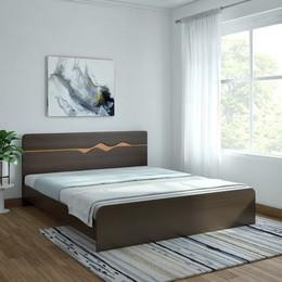 HomeTown Swirl Without Box Storage Engineered Wood King Bed Finish Color Denver Oak Urban Teak