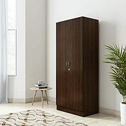 HomeTown Willy Engineered Wood 2 Door Wardrobe Finish Color Walnut