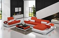 Quality Assure Furniture Modern Design L Shaped Sectional Leatherette Luxury Sofa Sets (Orange and White)