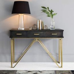 SamDecors-Solid-Wood-3-Drawer-Casino-Console-Table-Hall-Table-Black-with-Golden-Iron-Frame-Finish
