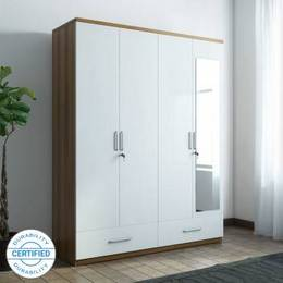Spacewood Apex Engineered Wood 4 Door Wardrobe Finish Color White Mirror IncludedJustHere