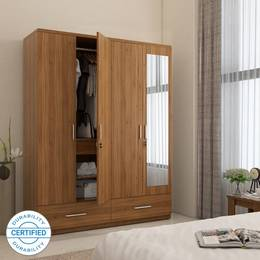 Spacewood-Classy-Engineered-Wood-4-Door-Wardrobe-Finish-Color-Natural-Teak-Mirror-IncludedJustHere