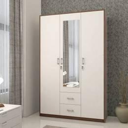Spacewood Dew Engineered Wood 3 Door Wardrobe Finish Color Walnut Rigato Mirror IncludedJustHere