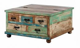 The Attic Corona Mango Solid Wood Coffee Table (Finish Color - Teak)