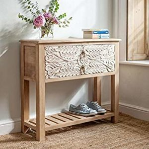 The-Attic-French-Console-Table-Natural-and-White-vintage look