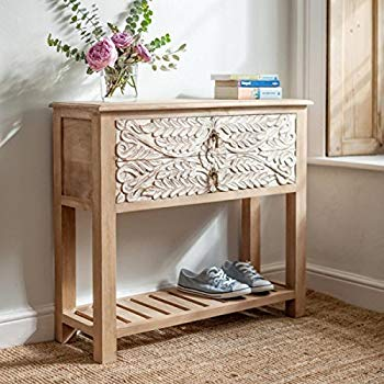 The Attic French Console Table Natural and White