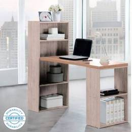 Woodness Chicago Engineered Wood Office Table Free Standing Finish Color Grey Oak
